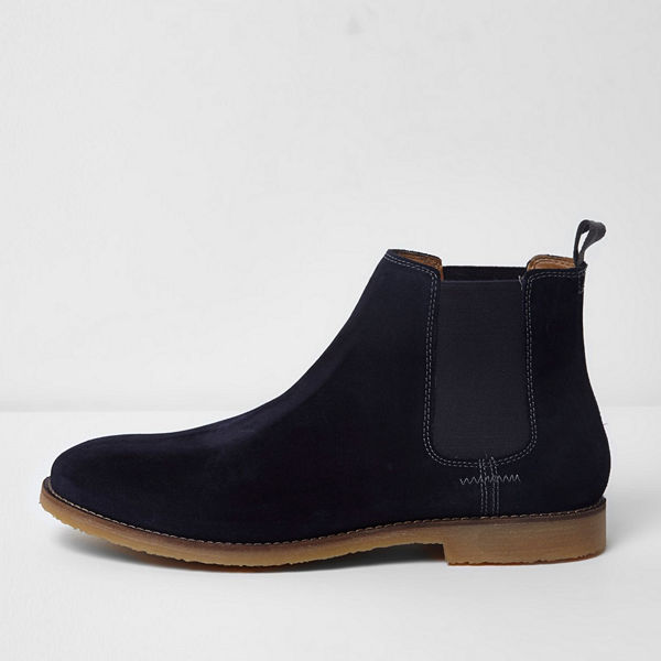 River Island Navy suede chelsea boots