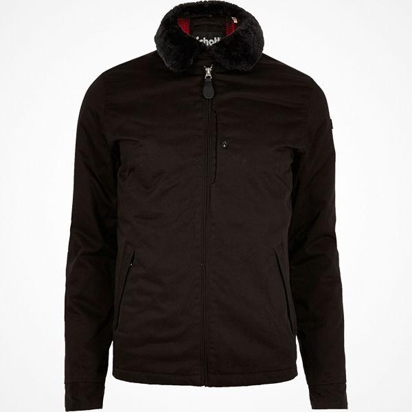Schott Black faux fur collar zipped jacket
