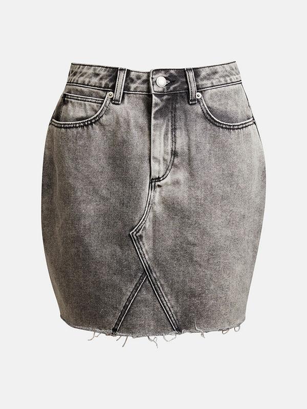 Bik Bok Sasha Grain denim skirt - Ljusgrå