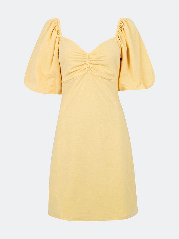 Bik Bok Meadow klänning med knytband - Melerad ljusgul