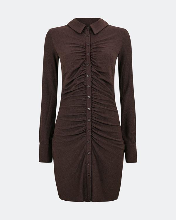 Bik Bok Tilly klänning med knäppning - Mörkbrun