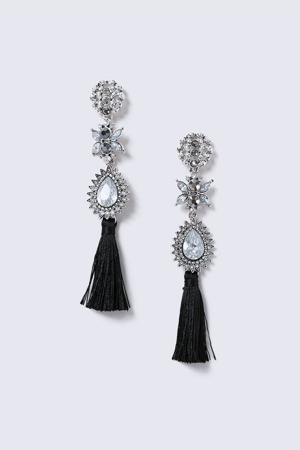 Gina Tricot örhängen Silver Look Crystal  Drop With Tassel