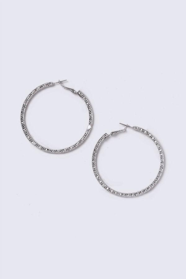 Gina Tricot örhängen Silver Look Thick Textured Hoop Earrings