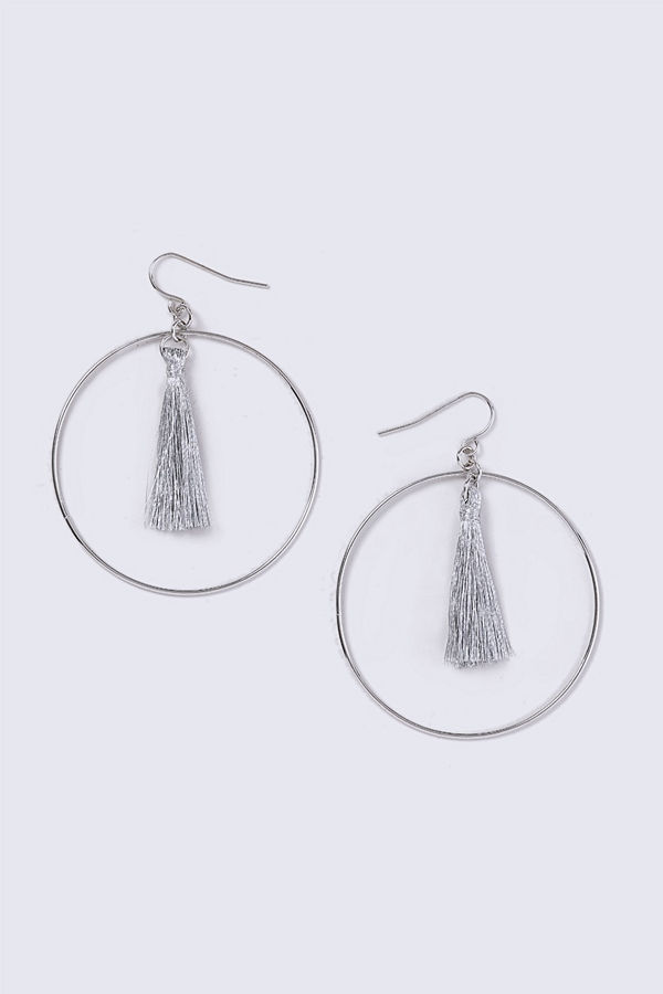 Gina Tricot örhängen Silver Tassel Hoop Earrings