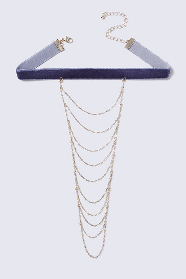 Gina Tricot Blue Suede Choker with Multilayer Chain