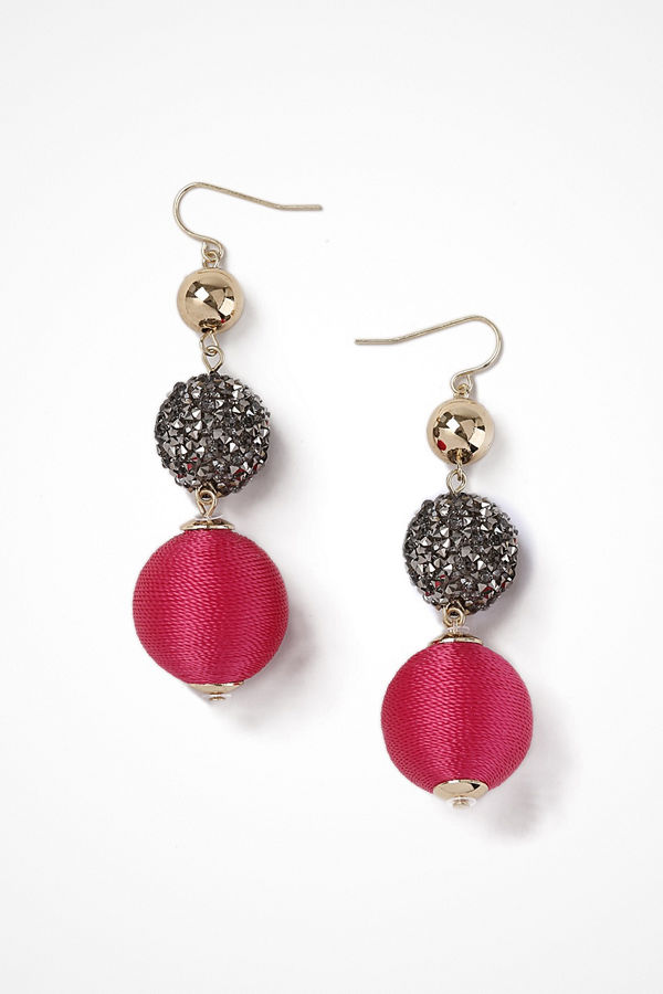 Gina Tricot örhängen Gold Look Fuschia Drop Earrings