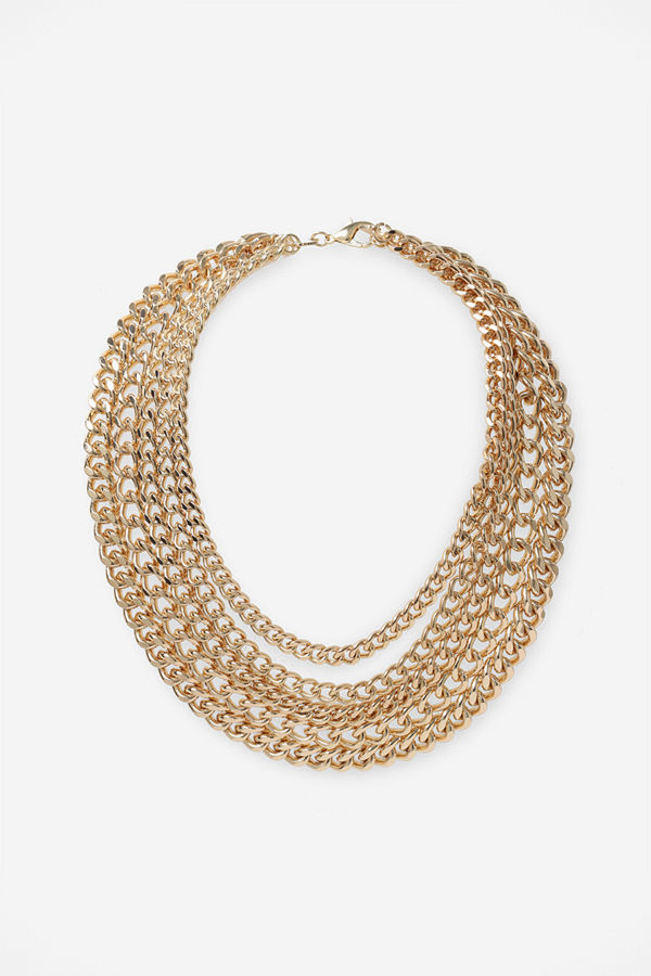 Gina Tricot halsband GOLD 5 ROW CHUNKY CH NW