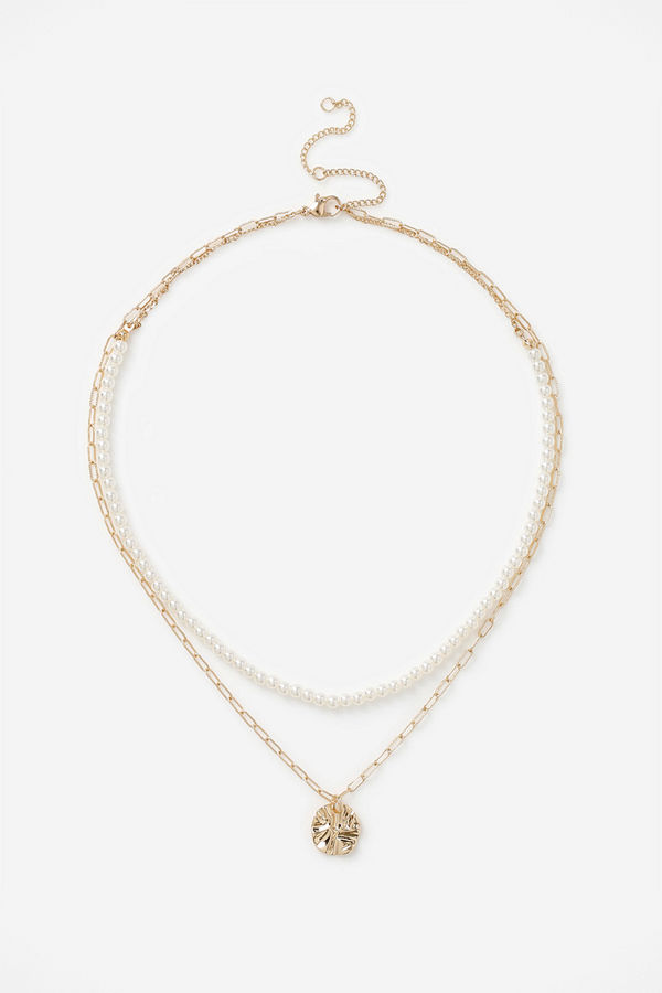 Gina Tricot halsband PEARL CHAIN MULTI-ROW NECKLACE