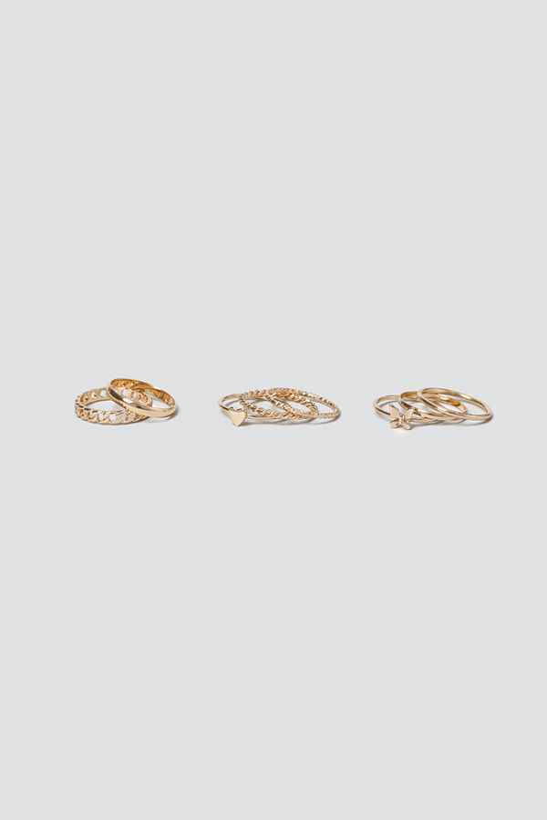 Gina Tricot Gold Butterfly & Heart Ring Stacking Pack