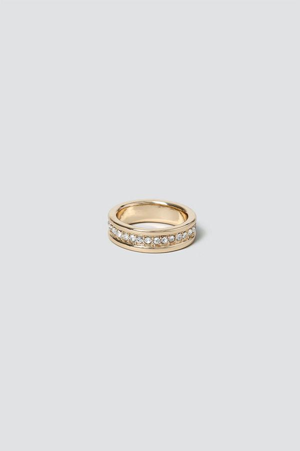 Gina Tricot Gold Twist Rhinestone Inlay Ring