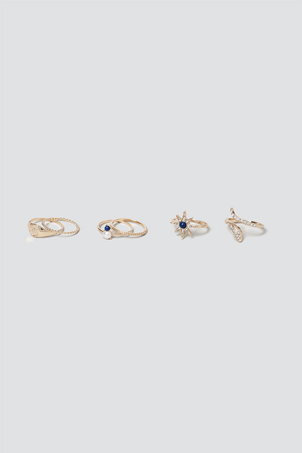 Gina Tricot Gold Snake & Star Ring Pack