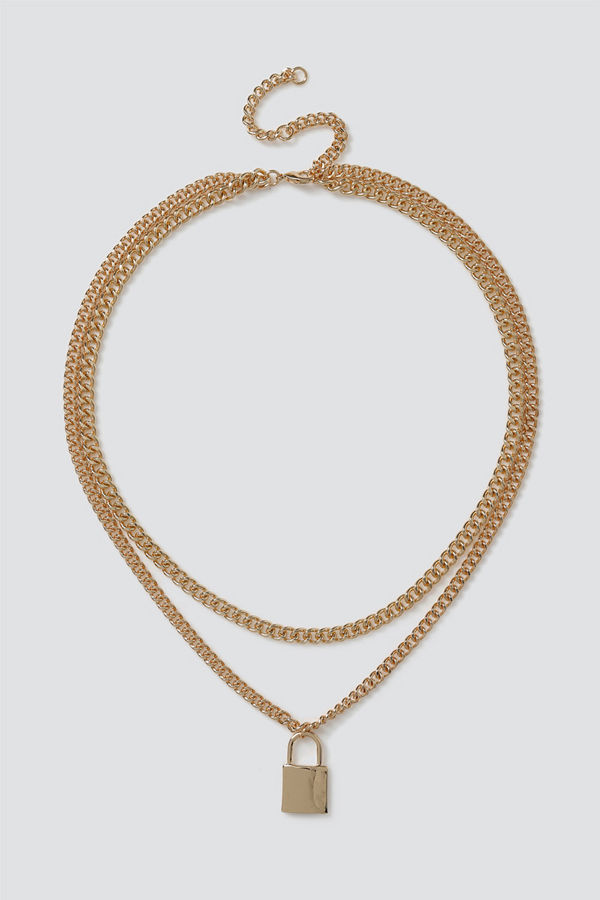 Gina Tricot halsband Gold Padlock Layered Necklace
