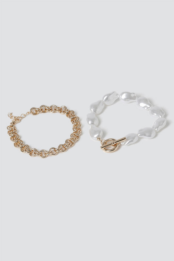 Gina Tricot armband Organic Pearl & T-Bar Bracelet Pack