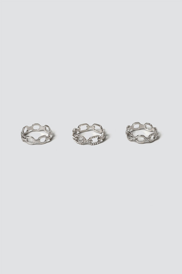 Gina Tricot Silver Chain Ring Multipack