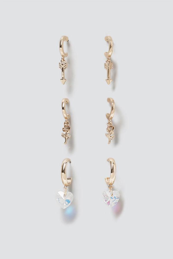 Gina Tricot örhängen Rose & Heart Charm Hoop Pack