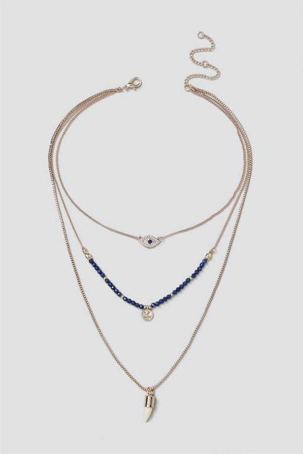 Gina Tricot halsband Mixed Bead & Charm Layered Necklace