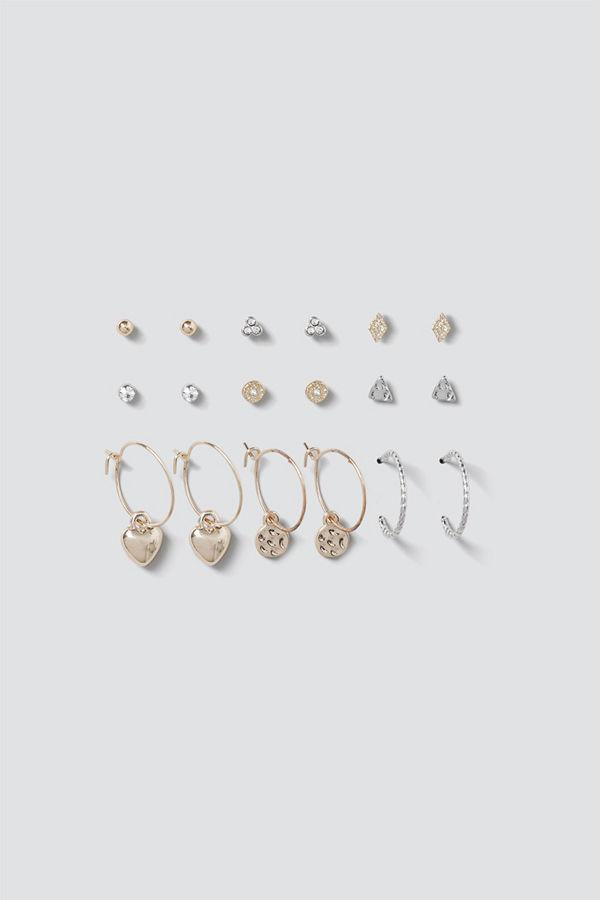 Gina Tricot örhängen Mixed Metal Heart & Disc Earring Multipack