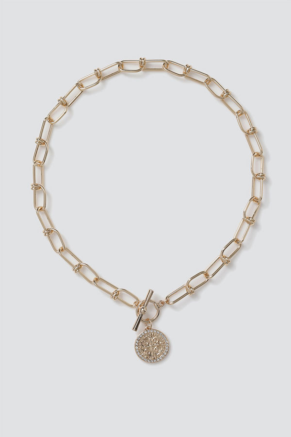 Gina Tricot halsband Gold Pretty Coin T-Bar Necklace