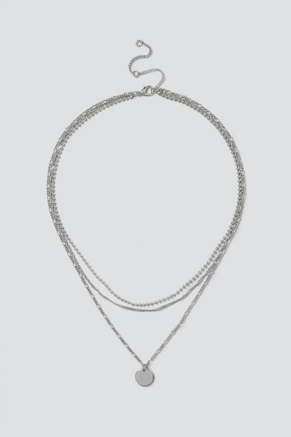 Gina Tricot halsband Silver Disc & Chain Layered Necklace