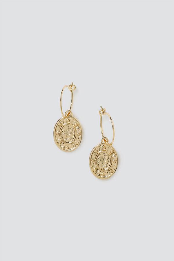 Gina Tricot örhängen Gold Coin Drop Hoops