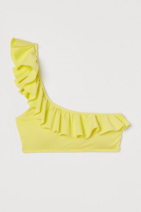 H&M One shoulder-bikinitopp gul