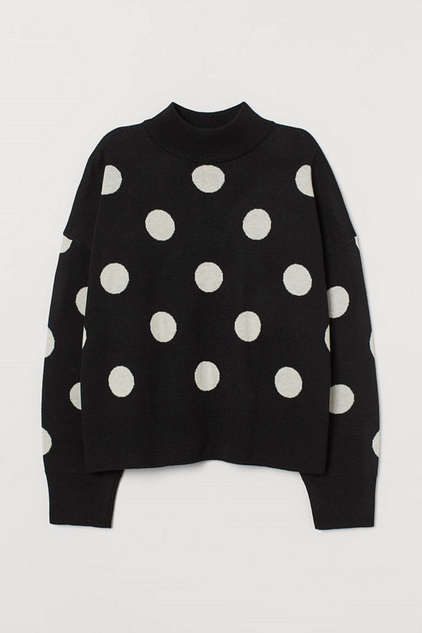 H&M Stickad tröja med halvpolo svart