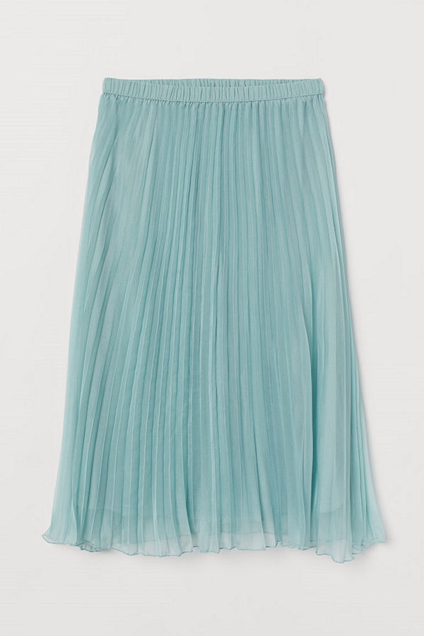H&M Plisserad kjol turkos