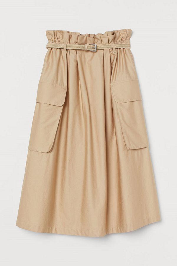 H&M Paper bag-kjol i bomullssatin beige