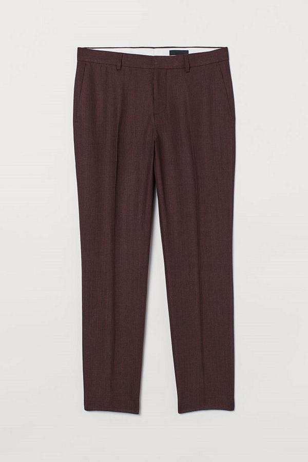 H&M Kostymbyxa i linne Slim Fit röd