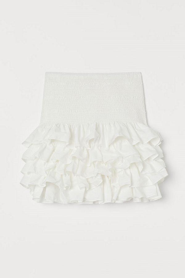 H&M Volangkjol i bomull vit