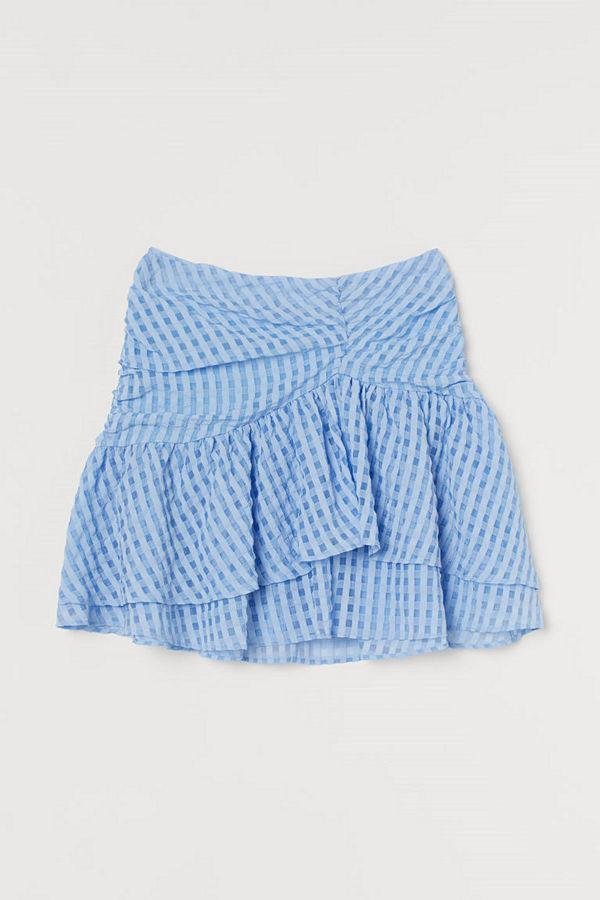 H&M Draperad volangkjol blå