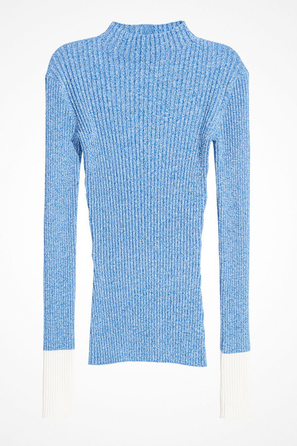 H&M Ribbstickad topp blå