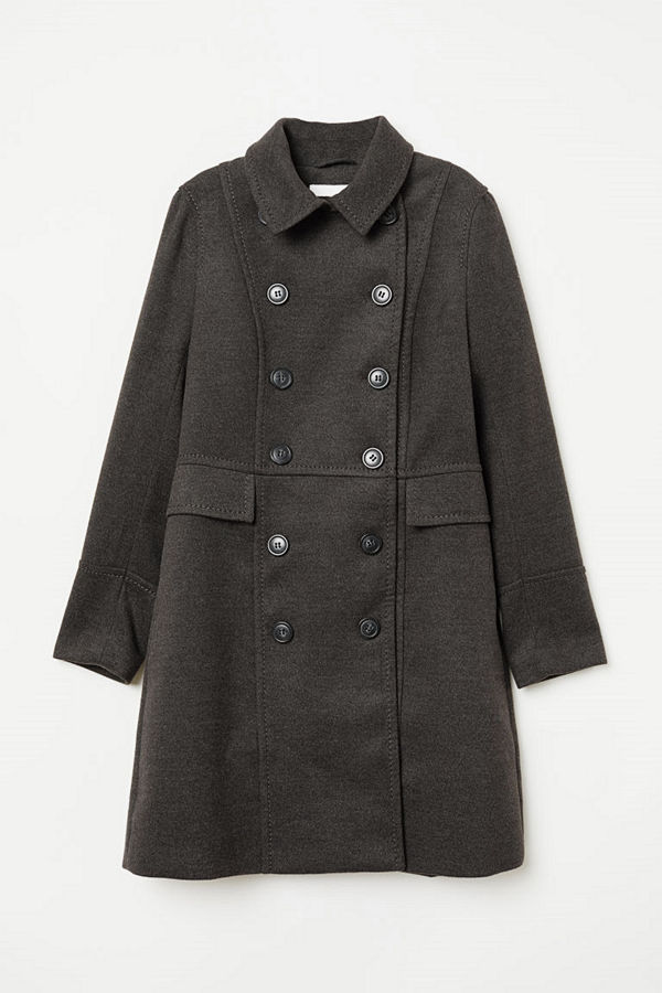 H&M Dubbelknäppt kappa grå