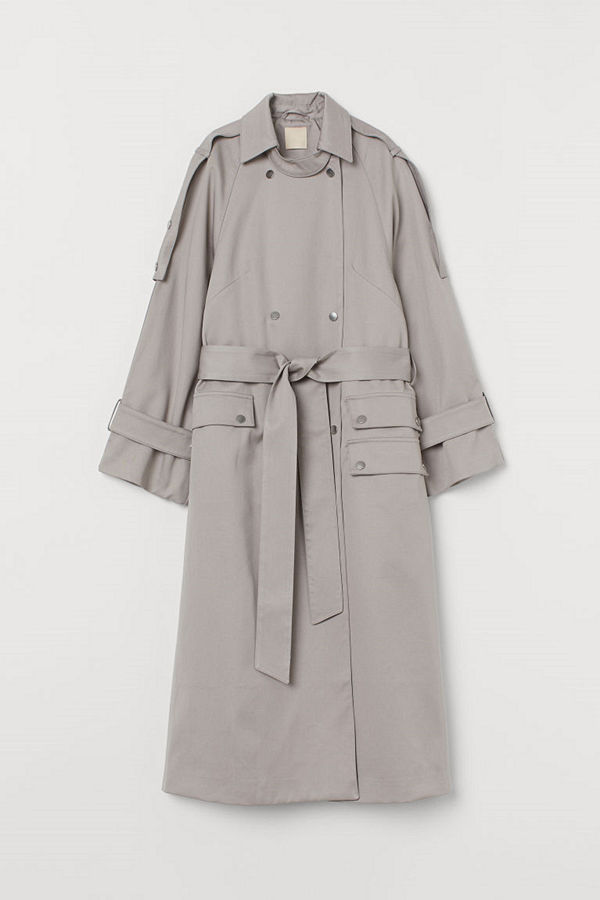 H&M Oversized trenchcoat i lyocell grå