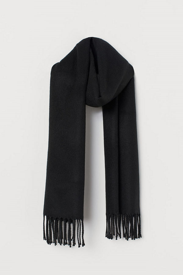 H&M Halsduk med fransar svart
