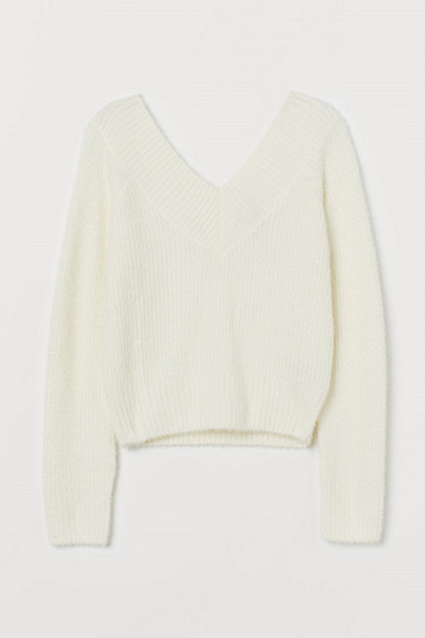 H&M V-ringad tröja vit