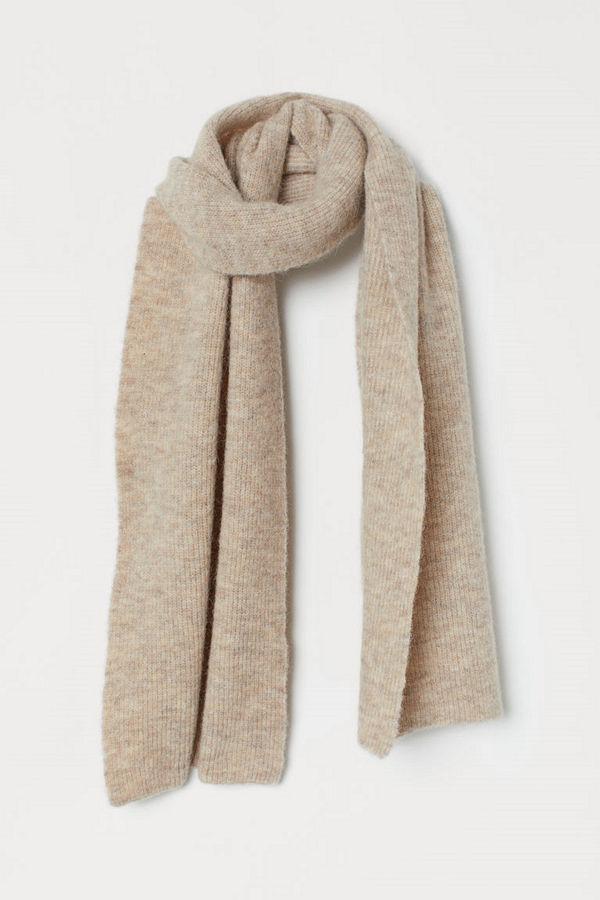 H&M Stor halsduk i ullmix beige