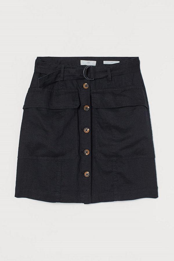 H&M Utilitykjol i linne svart