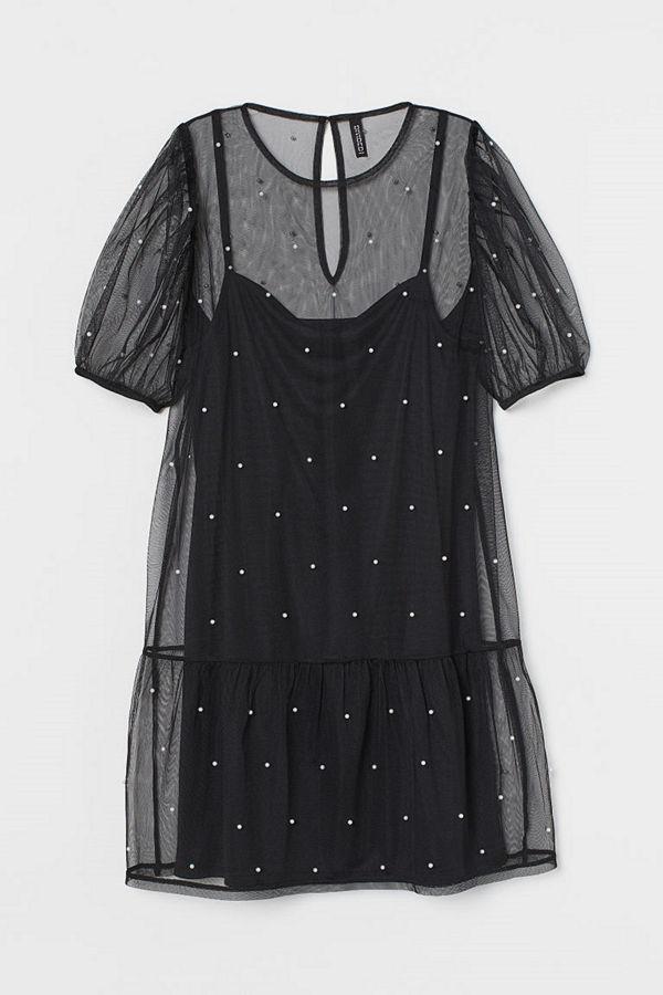 H&M Meshklänning med pärlor svart