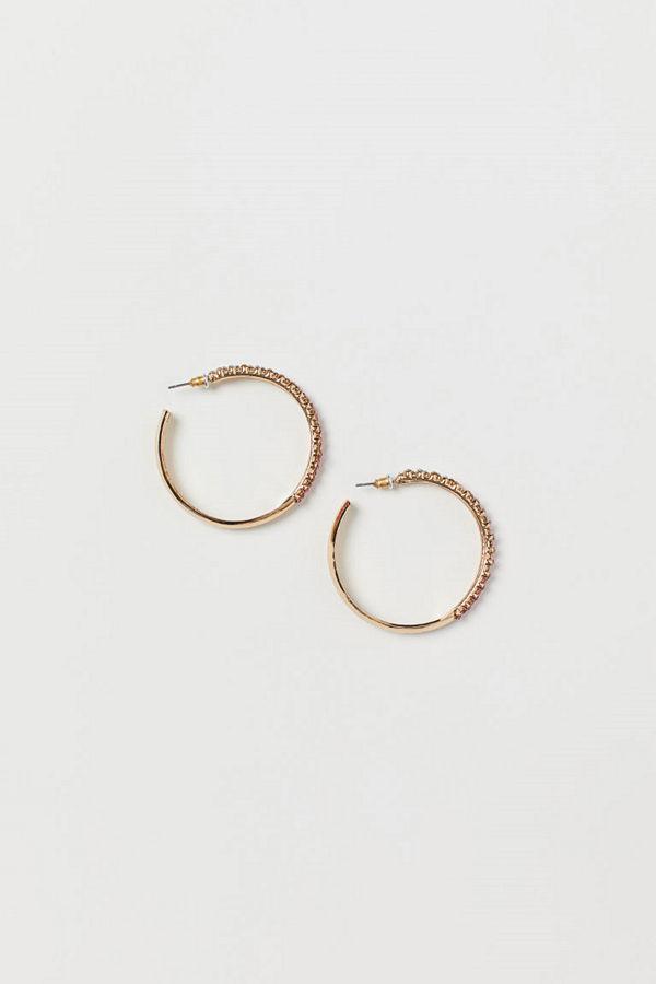 H&M Runda örhängen med strass rosa