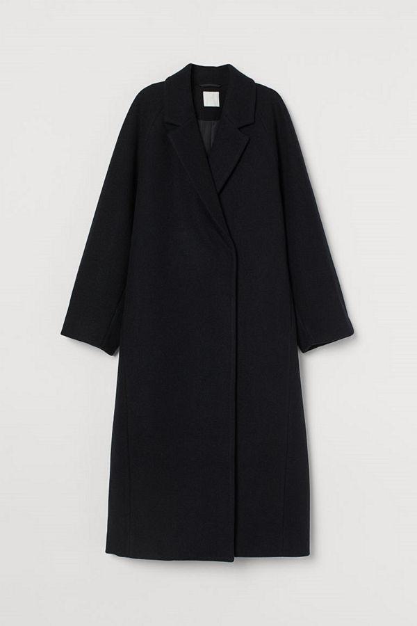 H&M Vadlång kappa svart