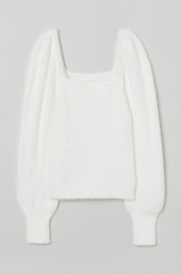 H&M Lurvig tröja med puffärm vit