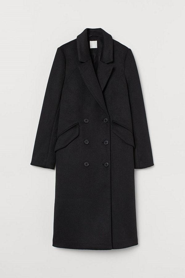 H&M Dubbelknäppt kappa svart