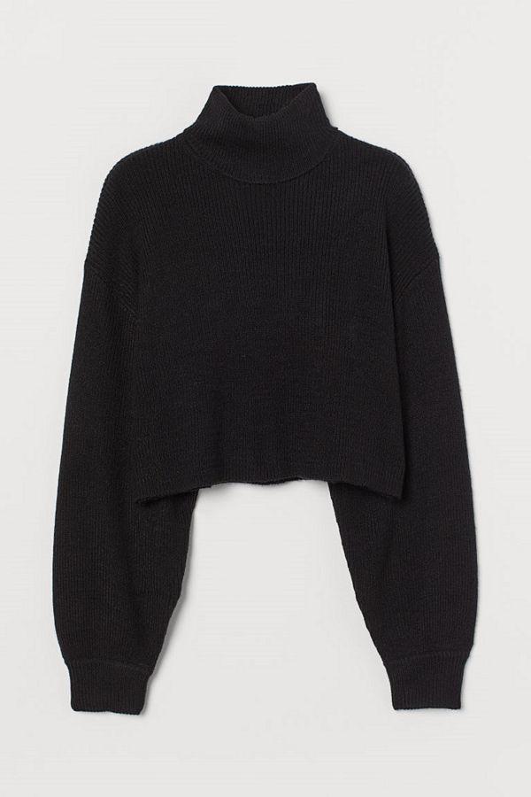 H&M Kort polotröja svart
