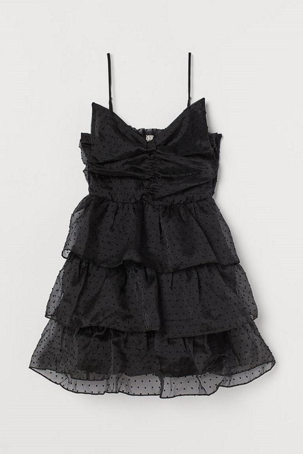 H&M Volangklänning med rosett svart