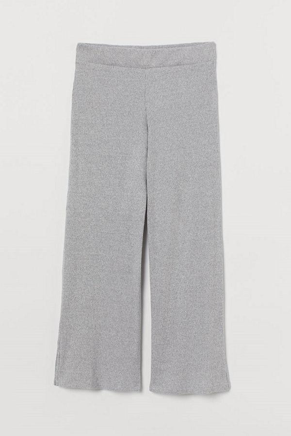 H&M ljusgrå byxor Ribbad byxa grå