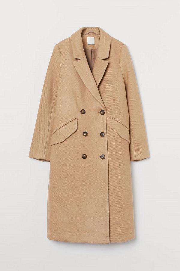 H&M Dubbelknäppt kappa beige