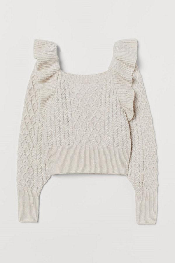 H&M Kabelstickad tröja med volang brun