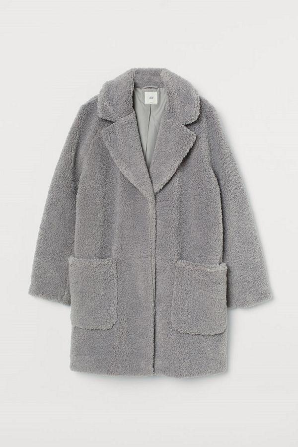 H&M Kort kappa i pile grå