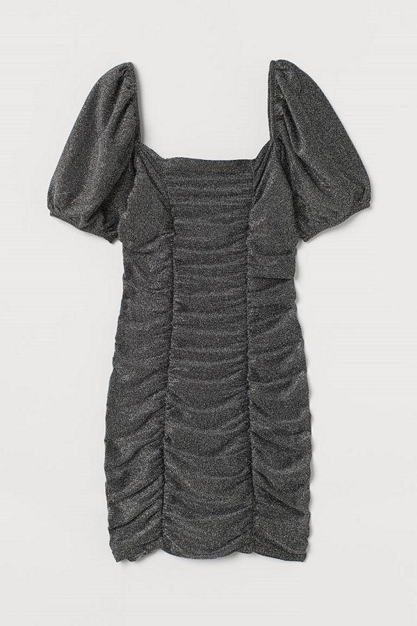 H&M Draperad glitterklänning grå
